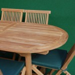 Teak Fixed Oval Table and Folding Chair Set