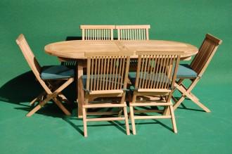 Teak Fixed Oval Table Folding Set