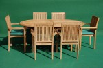 Teak Fixed Oval Table Stacking Set