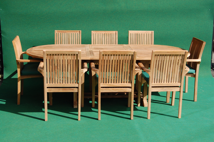 Teak Oval Extending Table And Eight Stacking Chair Set Garden Teak - Teak oval extending table
