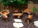teak root bench and coffee table